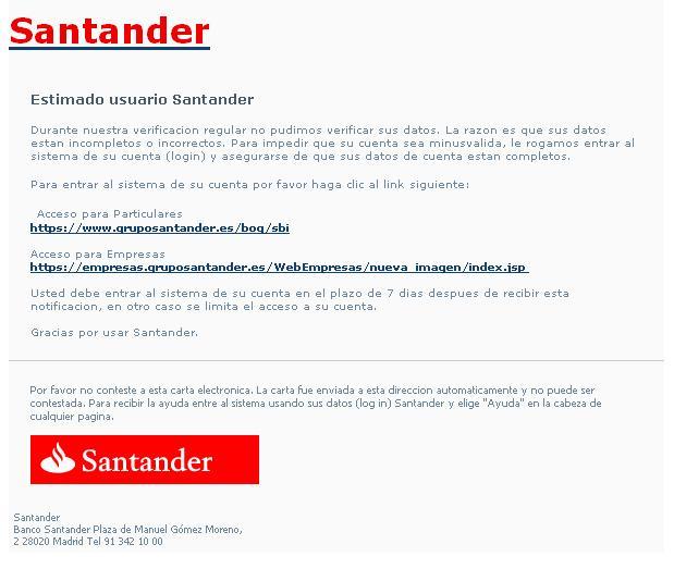 phising banco santander