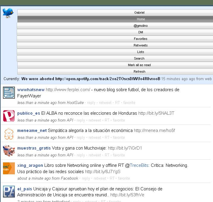 twitter y facebook desde Gmail