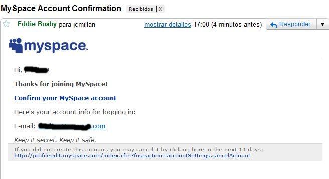 correo falso de myspace